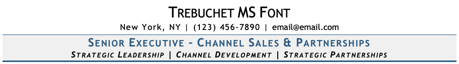 Trebuchet Font on Resume