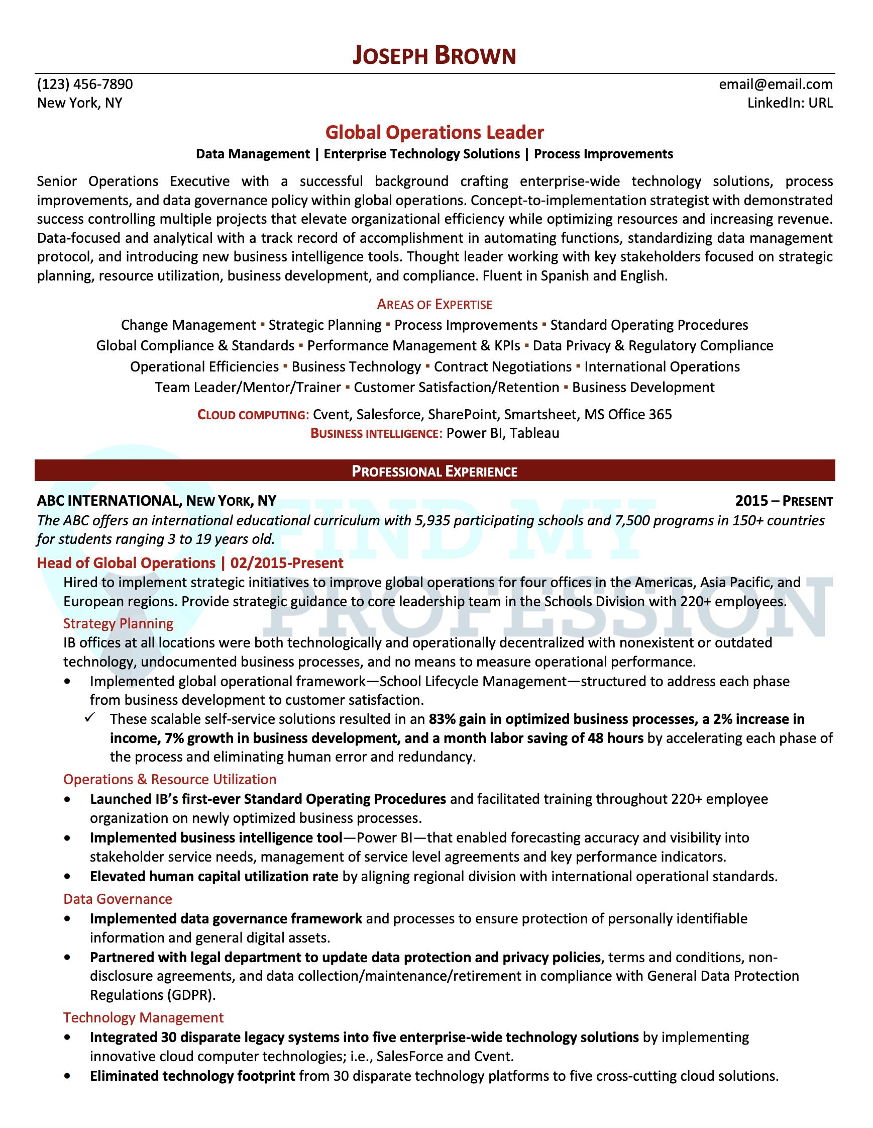 Global Operations Executive Resume Sample