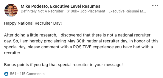 Happy National Recruiter Day! (May 30th)