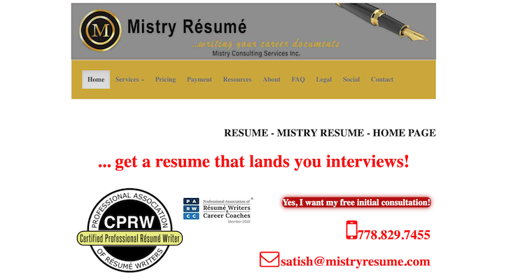 Mistry Resume - best Vancouver Resume Services