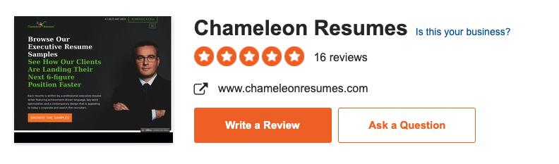 Chameleon Resumes Sitejabber reviews