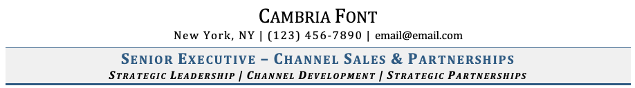 Cambria Font on Resume