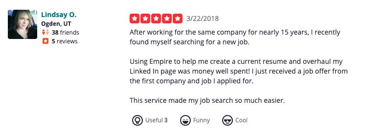 Empire Resume Yelp reviews