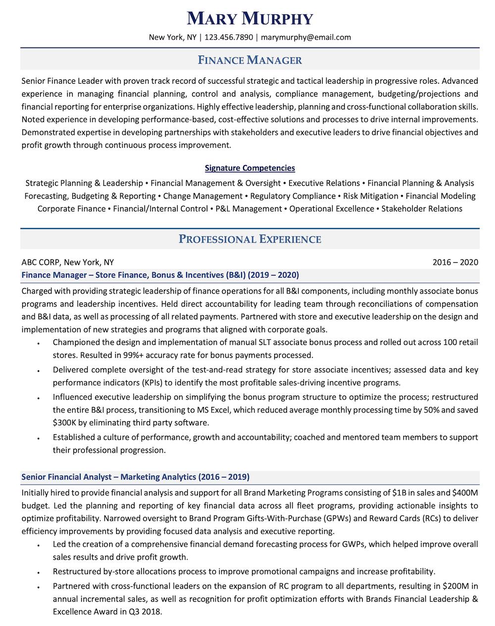 Finance Resume Sample