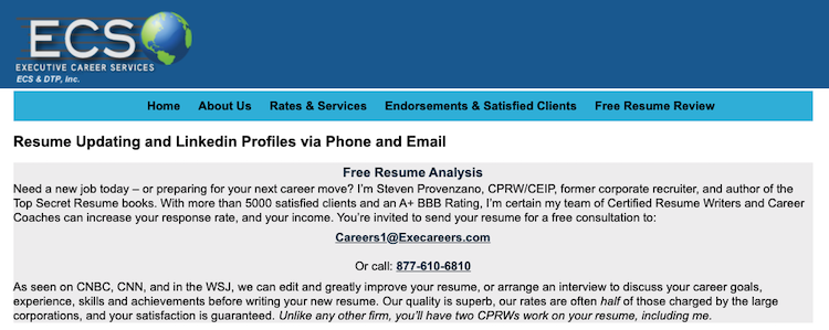 Executive Career Services - Best Chicago Resume Service