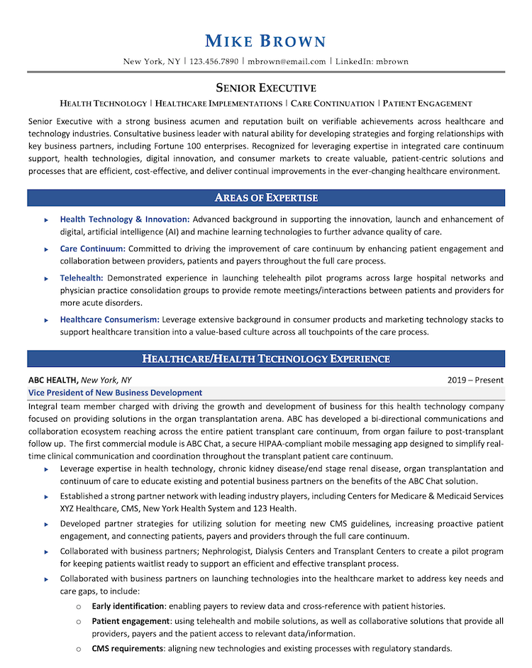 Resume Sample for People Over 50