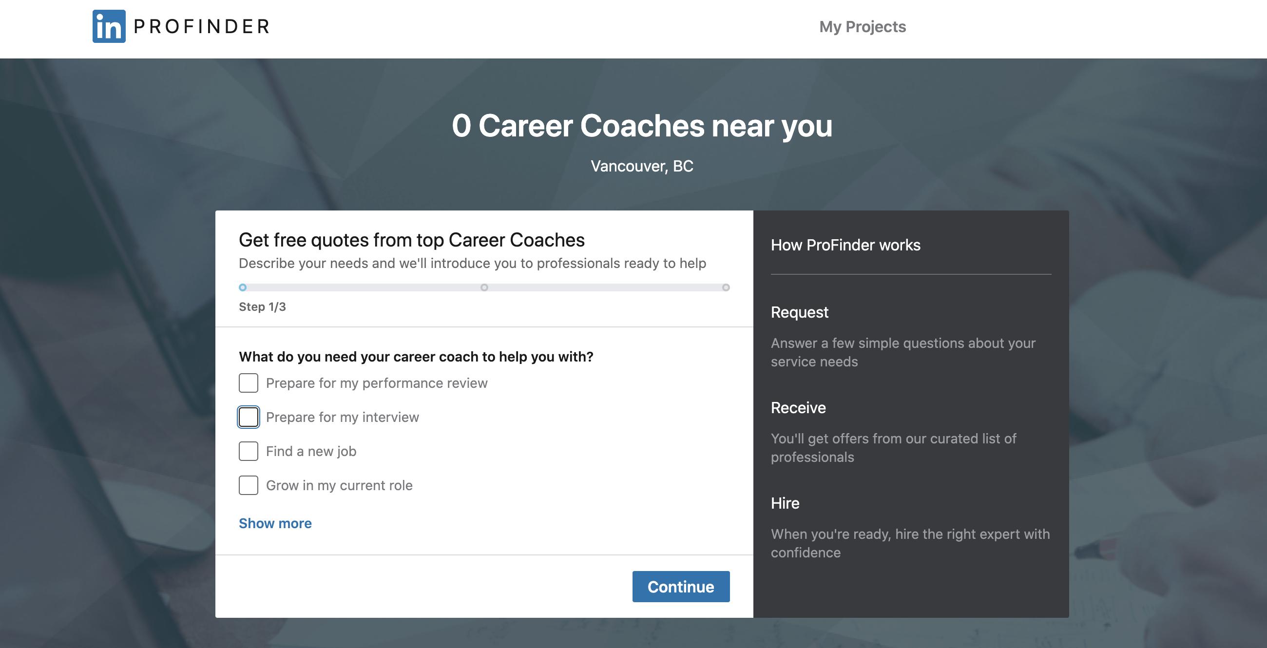 LinkedIn ProFinder Interview Training Services