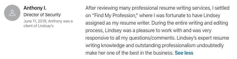 Lindsay Duston – Executive Resume Writer Review