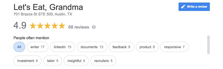 Let's Eat, Grandma Google Reviews