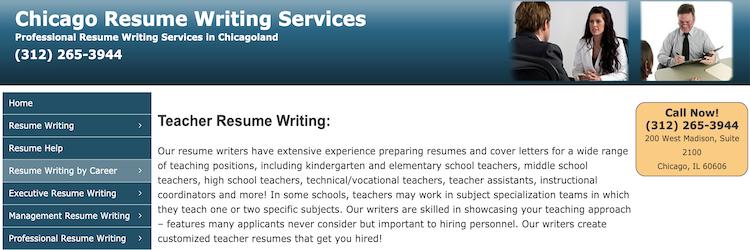 Chicago Resume Writing Service - Best Teacher Resume Service