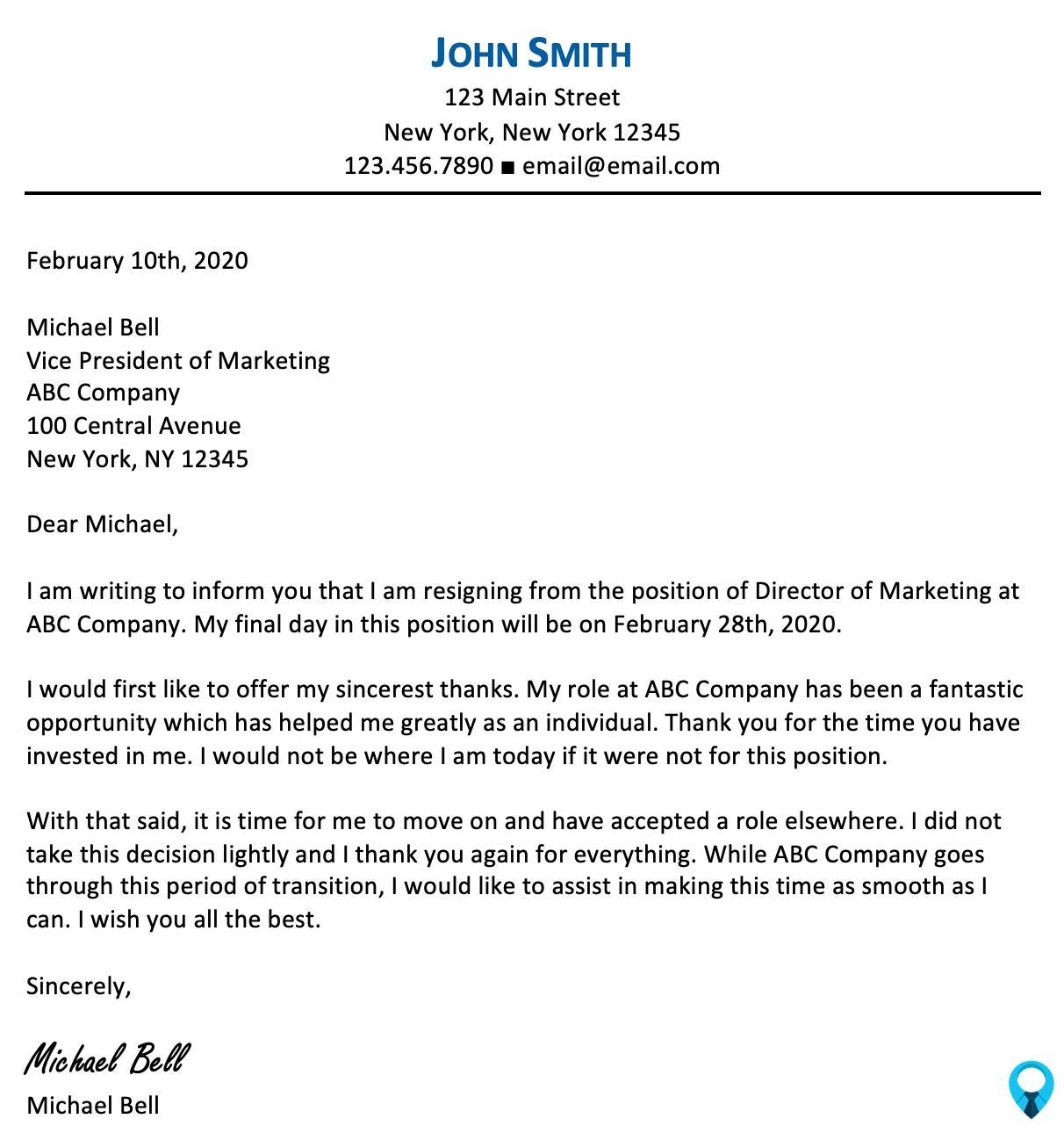 Sample Letter of Resignation