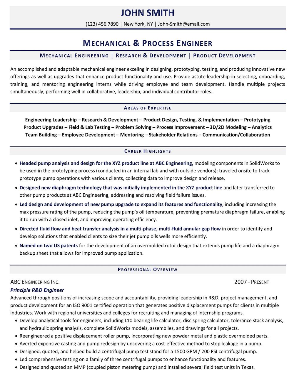 Engineering Resume Sample