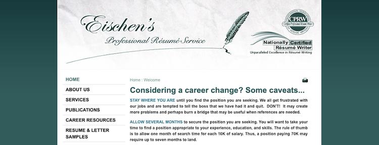 Eischen's Professional Resume Service - Best Finance Resume Service