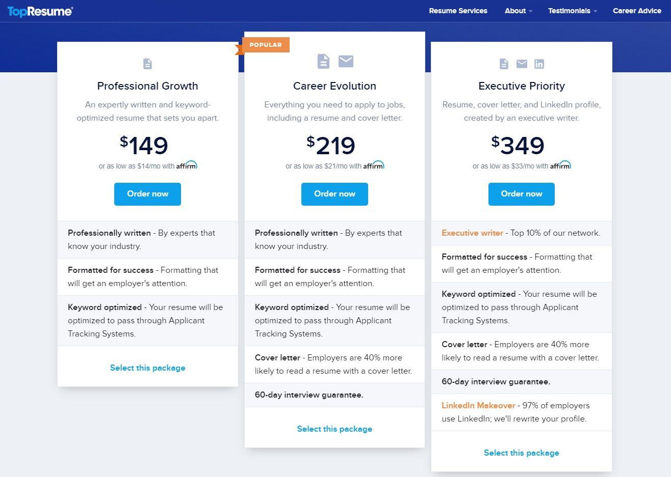 TopResume Pricing & Packages