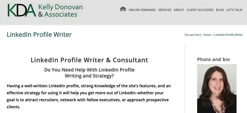 Kelly Donovan & Associates - LinkedIn Profile Writing Services