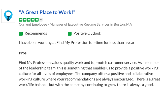 Employee review find my profession