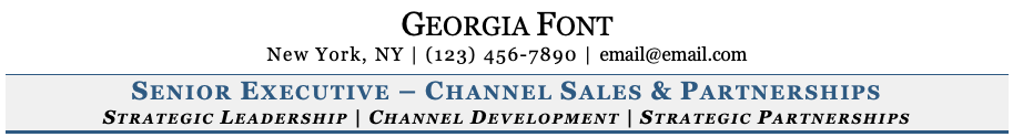 Georgia Font on Resume