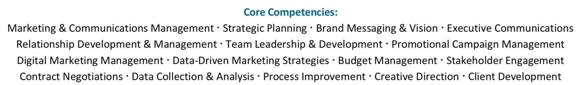 Skills Sections Sample Resume / CV