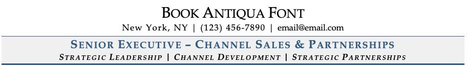 Book Antiqua Font on Resume