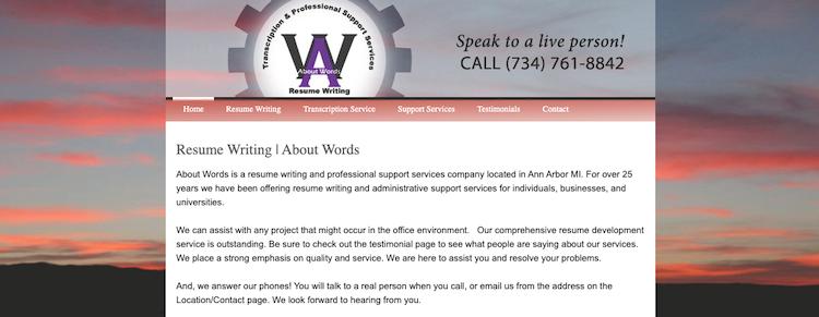 About Words - Best Detroit Resume Service