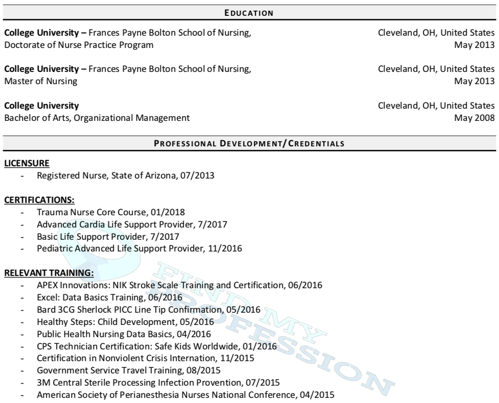 Education Section CV Resume