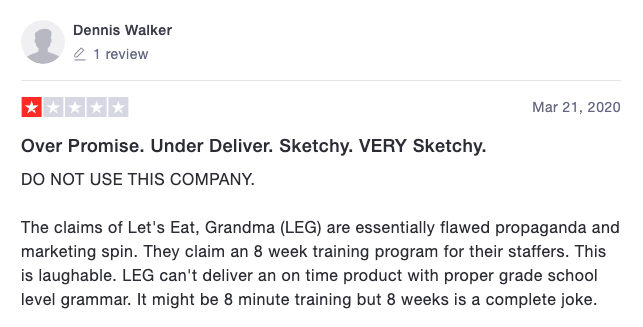 Let's Eat, Grandma Trustpilot Reviews