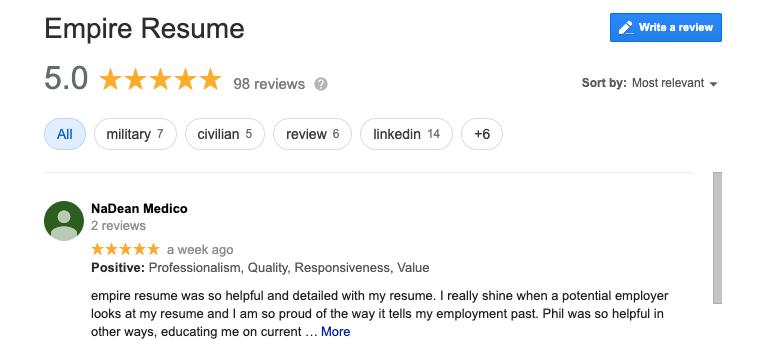 Empire Resume Google reviews