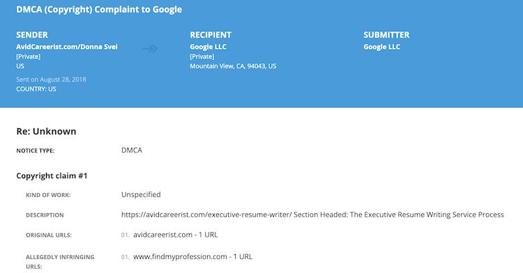Donna Svei - Lumen DMCA Complaint 1
