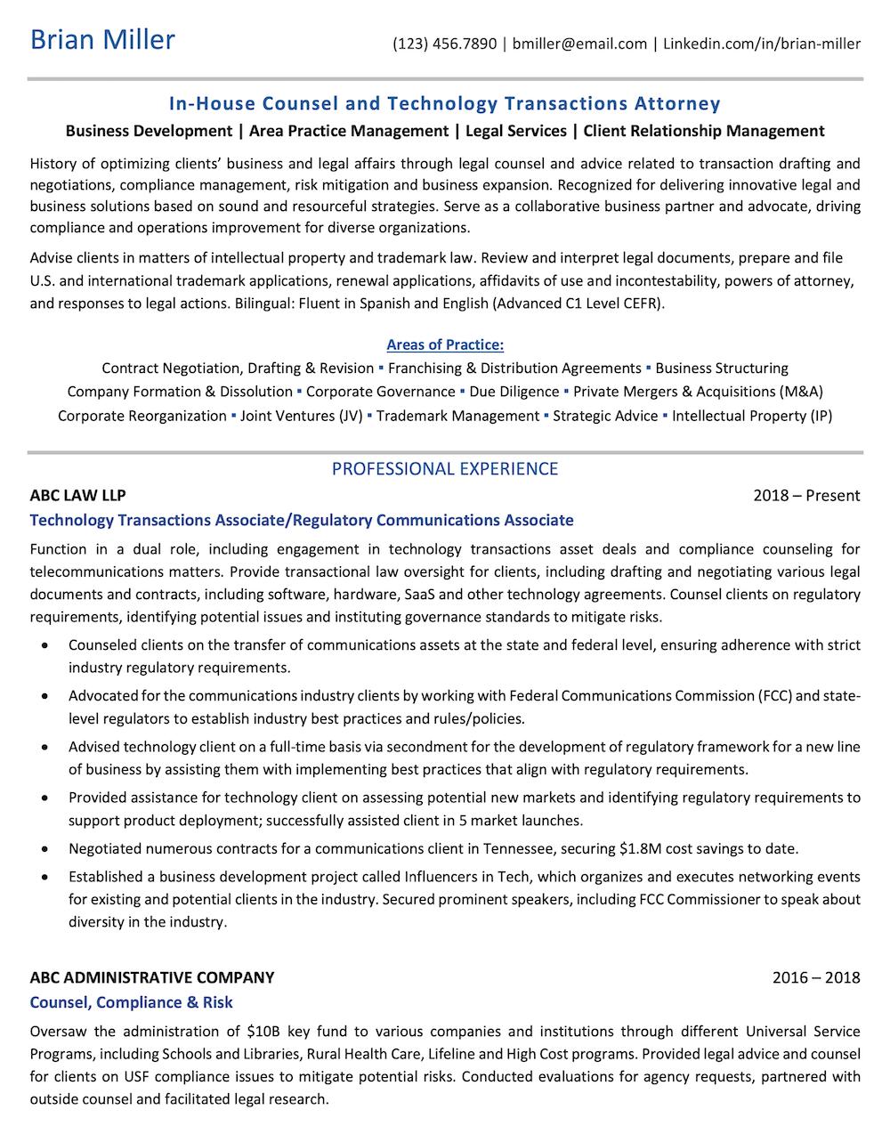 Legal Resume Sample