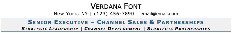 Verdana Font on Resume