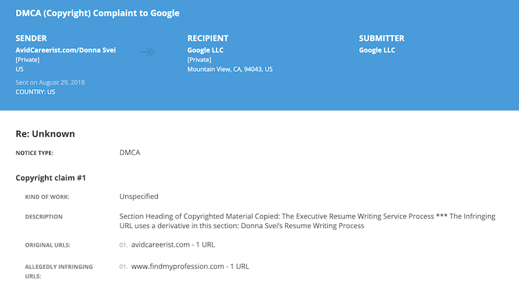 Donna Svei - Lumen DMCA Complaint 2