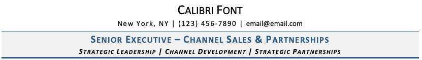 Calibri Font on Resume
