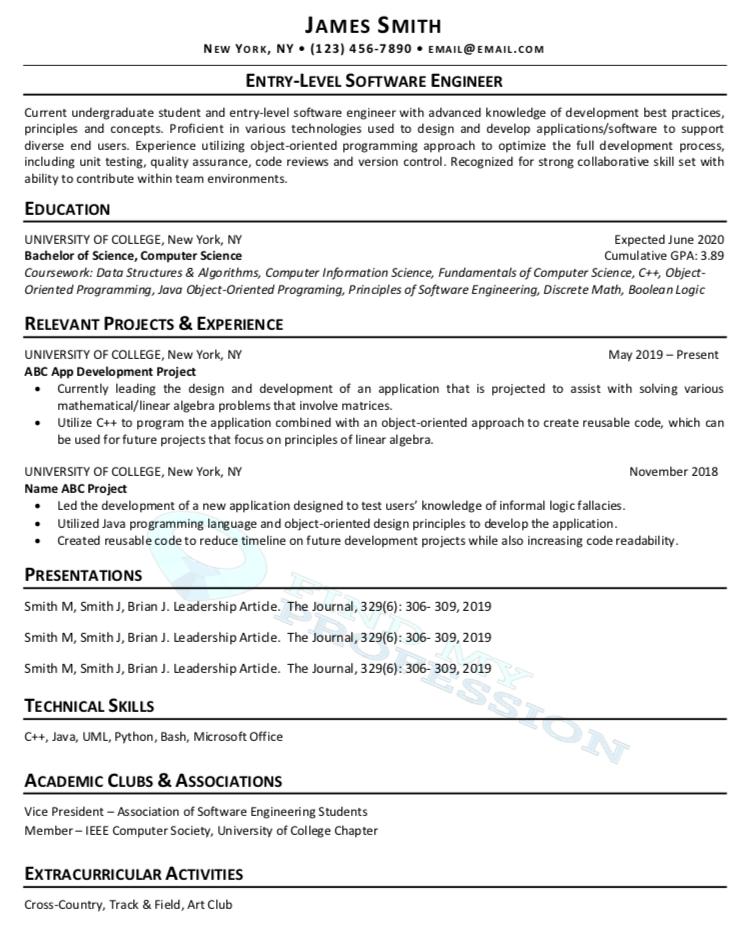 CV No Experience Sample