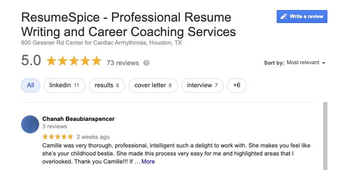 ResumeSpice Google reviews