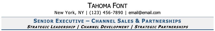 Tahoma Font on Resume