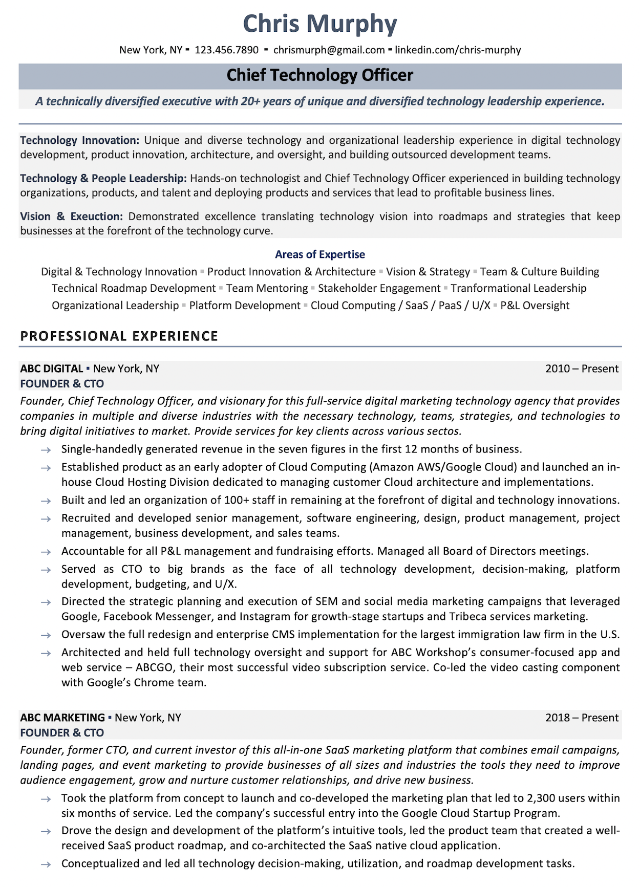 5 Best Chief Technology Officer Resume Services (CTO)