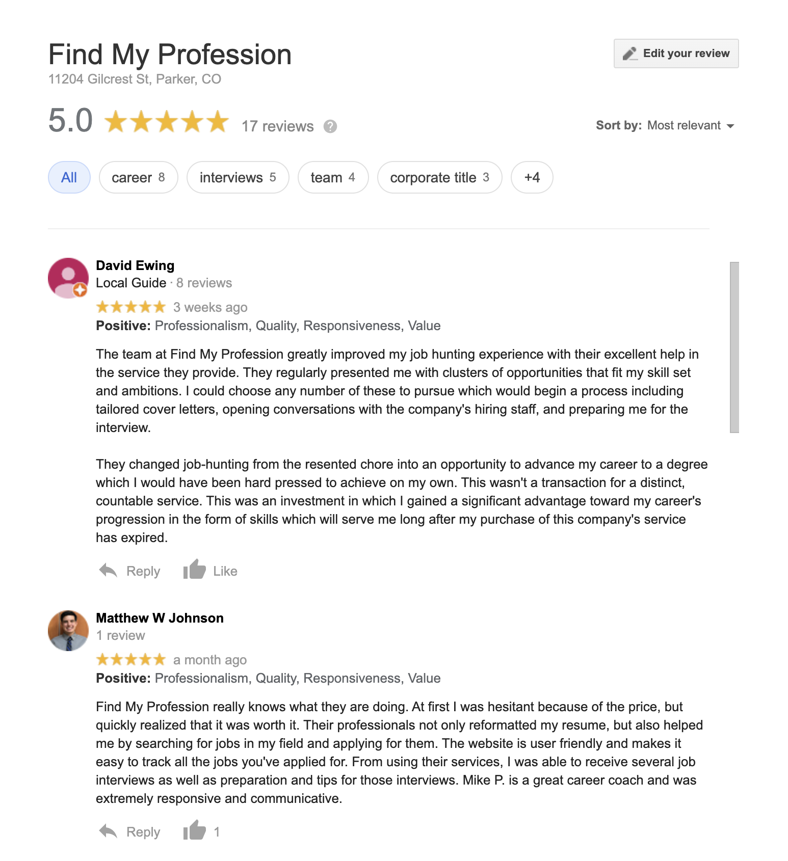 Find My Profession Google Reviews
