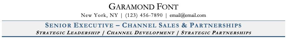 Garamond Font on Resume