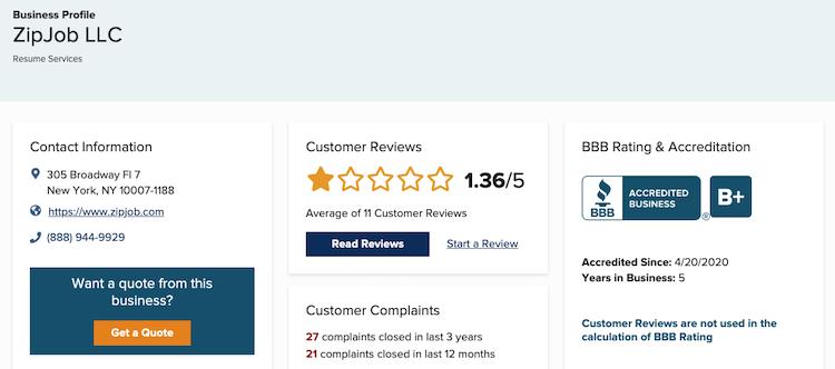 ZipJob BBB rating