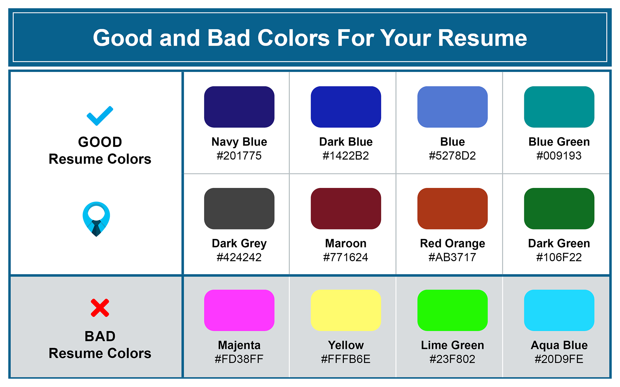 Good and Bad Colors for a Resume