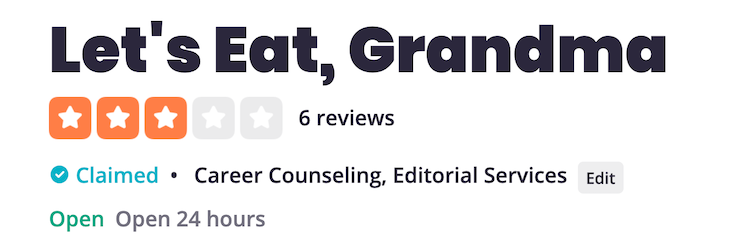 Let's Eat, Grandma Yelp Reviews