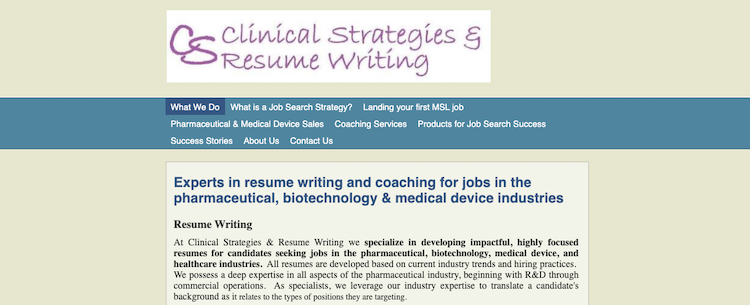 Clinical Strategies & Resume Writing - Best Medical/Pharma Resume Service