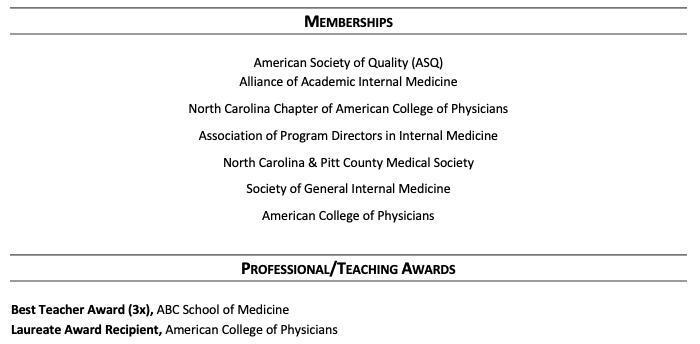 Award Section Sample CV