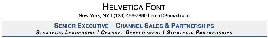 Helvetica Font on Resume