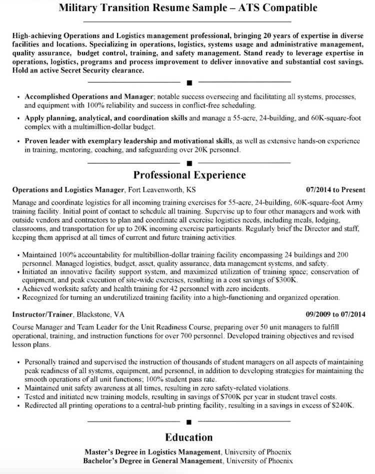 CareerProPlus Resume Sample