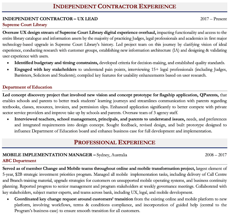 Freelance Work on Resume Sample