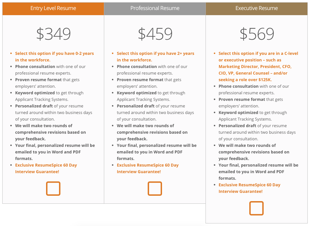 ResumeSpice Pricing & Packages